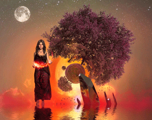 Bild: Frau mit langen Haaren über dem Wasser laufend - Vertrauen